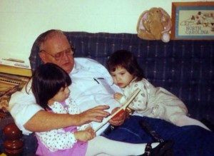 My two oldest daughters with my dad, their grampie. They got their love of books from him. He was always seen with a book in hand. Sadly we lost him at the beginning of this year.